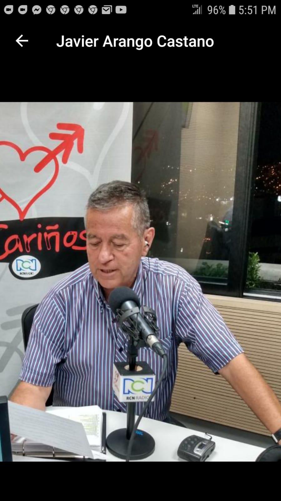Pronta recuperación del locutor Javier Arango Castaño